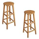 Festnight Set of 2 Bar Stools with Footrest Solid Acacia Wood Counter Height Pub Chair Barstool Kitchen Dining Room Bistro Cafe Furniture 13.4 x 13.4 x 29.9 Inches (W x D x H)