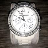 Michael Kors Accessories   Michael Kors 5079 Chronograph White Acrylic Watch   Color: Silver/White   Size: Os