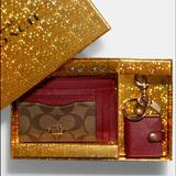 Coach Accessories | Boxed Xl Mini Skinny Id Case And Pic Frame | Color: Red/Tan | Size: Os