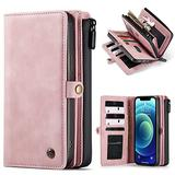"""WintMing Compatible with iPhone 12 6.1"""" Wallet Case 17 Card Holder Flip Leather Case Magnetic Detchable Multi-Function Money Purse Protective Cover for 12 Pro 5g (Pink, 12(6.1"""")/12 Pro(6.1""""))"""