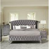 Coaster Deanna Tufted Upholstered Storage Platform Bed Upholstered/Velvet in Gray, Size California King | Wayfair 205101KW