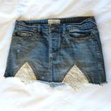 Free People Skirts   Free People Denim Mini Skirt With Lace Cut   Color: Blue/White   Size: 4