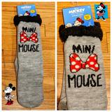 Disney Accessories   Disney Minnie Mouse Mini Mouse Slipper Socks   Color: Gray/Red   Size: 6 12 - 8 12
