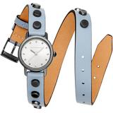 Bffl Studded Dusty Blue Double Wrap Leather Strap Watch 25mm - Blue - Rebecca Minkoff Watches