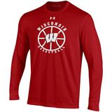 Men's Under Armour Red Wisconsin Badgers Basketball Performance Cotton Long Sleeve T-Shirt, Size: Large
