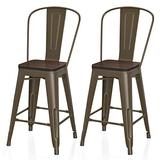 """VIPEK 24 Inches Counter Height Bar Chair Commercial Grade Patio Chairs Metal 24"""" Seat Height Barstool with High Back Elm Wood Top Side Dining Stools for Bistro Pub Cafe Kitchen, Set of 2, Gun Color"""