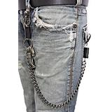 Men Silver Metal Wallet Chain Keychain Black Leather Horn Skull Motorcycle Biker DS-224