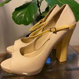 Nine West Shoes   Chunky Platform Peep Toe Nine West Heels   Color: Tan/Yellow   Size: 6.5