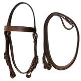 Equitem Tan Leather Australian Headstall Barco Bridle Full Horse Size with Reins