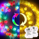SUPREPOWER Globe String Lights, Globe Fairy Lights 2 Pack 17 ft 50 LED Globe Ball Christmas String Lights with 8 Modes for Indoor Outdoor Christmas Decorations Warm White & Multicolor