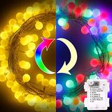 SUPREPOWER Globe String Lights, Globe Fairy Lights 17ft 50 LED Globe Ball Christmas String Lights with 8 Modes for Indoor Outdoor Christmas Decorations Warm White & Multicolor