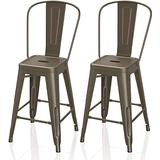 """VIPEK 24"""" Counter Height Bar Stools Commercial Grade Patio Bar Chairs Metal 24 Inches Height Barstool with High Back Side Dining Chairs for Bistro Pub Cafe Kitchen, Set of 2, Gun Color"""