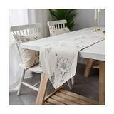 Daesar Table Runner 12x80 Inch, Table Runner Cotton Linen Flowers Printed Table Runner Beige Vintage Table Runner
