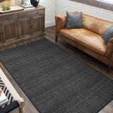 Dakota Fields Norfolk Striped Tufted Charcoal Area RugPolyester in Gray, Size 72.0 H x 48.0 W x 0.41 D in   Wayfair