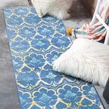 Bungalow Rose Devina Damask Flatweave Area Rug Polyester in Blue/Yellow, Size 30.0 H x 84.0 W x 0.25 D in   Wayfair