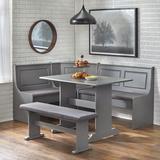 Red Barrel Studio® Creaser 3 - Piece Pine Solid Wood Breakfast Nook Dining Set Wood/Upholstered Chairs in Brown/Gray/Green | Wayfair