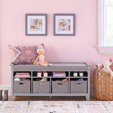 Martha Stewart Living & Learning Kids' Shelves Storage Bench Solid + Manufactured Wood/Wood in Gray, Size 22.2 H x 49.6 W x 15.0 D in | Wayfair