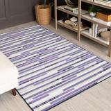 Ebern Designs Aolany Striped Tufted Purple/Gray Area RugPolyester in Gray/Indigo, Size 72.0 H x 48.0 W x 0.41 D in   Wayfair
