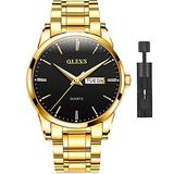 Gold Watch for Men with Day Date Black Face,Stainless Steel Watches Fashion Casual Luminous Dress Watch Men Quartz Luxury Wrist Watches for Men,OLEVS Watch Men Waterproof Classic Wristwatch Black Dial
