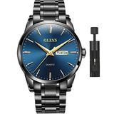 Watches for Men,Blue Dial Day Date Men Watch with Black Stainless Steel Luxury Waterproof Classic Wrist Watch Quartz Simple Luminous Dress Watch,OLEVS Men's Wristwatch,Relojes de Hombre