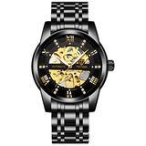 Men's Watch Automatic Mechanical Watch Luxury Waterproof Men's Watch Diamond Dial Men's Watch Automatic Winding (Black)