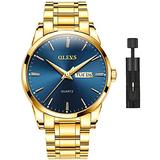 Men's Gold Watch,Men Watch Blue Dial Classic Dress Watch with Day Date Satinless Steel Waterproof Fashion Casual Luxury Watch for Man Quartz Simple WristWatches Man,relojes de Hombre