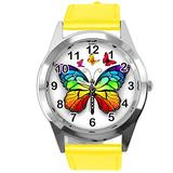 TAPORT Yellow Leather Round Watch for Butterfly Fans E2