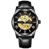Men's Watch Automatic Mechanical Watch Luxury Waterproof Men's Watch Diamond Dial Men's Watch Automatic Winding (Black Leather Belt)