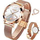 OLEVS Ladies Watches Rose Gold Small Wrist Watch for Women Mesh Stainless Steel Waterproof Dress Silver and Gold Women Wristwatch Luminous relojes de Mujer Lady White Dial Female Watch with Diamond