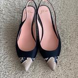 J. Crew Shoes | J Crew Satinsnake Print Sling Backs | Color: Black/Cream | Size: 8