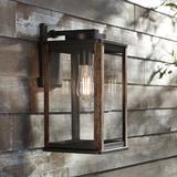 "Wordsworth Field 14 1/4"" High Bronze and Wood Grain Outdoor Wall Light"