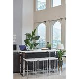 Coaster Home Furnishings Marmot 4-Piece Rectangle Marble Counter Height Set, Table, White and Chrome