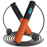 Aolfay Jump Rope, Weighted Cordless Skipping Rope for Training Fitness Exercise, Adjustable Length Speed Tangle-Free Ball Bearing Jumping Rope with Smart Calories Counter for Women, Men, Kids- Orange