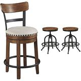 """Signature Design by Ashley Valebeck 24.5"""" Counter Height Single Rustic Swivel Bar Stool, Brown & Valebeck Counter Height Bar Stool, Brown/Black"""