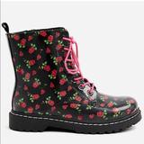 Torrid Shoes | Betsey Johnson Black Floral Combat Boots | Color: Black/Red | Size: 6.5