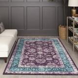 Charlton Home® Bryniulf Oriental Tufted Purple/Blue Area RugPolyester in Blue/Indigo, Size 72.0 H x 48.0 W x 0.41 D in | Wayfair