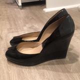 Michael Kors Shoes | Michael Kors Peep Toe Patent Leather Wedge Pumps | Color: Black | Size: 8