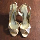 Nine West Shoes   Gold Satin Slingback Dress Pumps   Color: Gold/Yellow   Size: 8