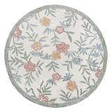 Lr Home Hand Hooked Vintage Floral Garden Round Rug, Cream/Multi