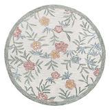 Lr Home Hand Hooked Vintage Floral Garden Round Rug, Cream/Multi, 4' Round