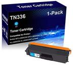 1-Pack (Cyan) Compatible Laser Toner Cartridge High Yield Replacement for Brother TN336 TN336C Laser Printer Toner Cartridge use for Brother MFC-L8600CDW MFC-L8850CDW HL-L8350CDW HL-L8250CDN Printer