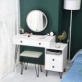 White Vanity Desk Set with Mirror,Makeup Vanity Table Wood Bedroom Dressing Table with Cushioned Stool,4 Drawers,Modern Bedroom Vanity Table Chair Set for Girls Women