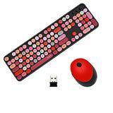 Color Keyboard, Round Keyboard, Colorful Computer Wireless Keyboard, Mouse Combo, Cute Keyboard, Typewriter Flexible Keys, Multimedia Keys Wrist Rest (Black-Colorful)