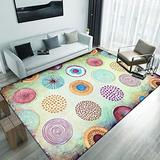 Area Rugs for Bedroom and Living Room, 5.3'X7.5'. Modern, Washable, Nonslip, Printed with Geometrical Motif and Abstract Designs. Black,White, Grey,Pink and Multicolor Rugs. Multicolor Circles