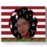 """Painting by Numbers, Merry Christmas African American Girl Black Girl and Christmas Gnome DIY Framed Paint by Number Kit On Canvas for Adults Kids Beginners Home Wall Decoration, 12""""x16"""""""