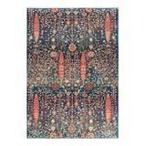 nuLOOM Indoor Rugs Blue - Blue Floral Faded Fringed Dasilva Gabbeh Rug