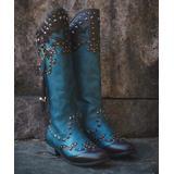 YASIRUN Women's Western Boots Blue - Blue & Brown Rivet-Accent Knight Cowboy Boot - Women