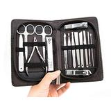15 Pcs Stainless Manicure Set, Luxury black Leather Gift Case Nail Care Personal Manicure & Pedicure Set