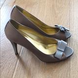 J. Crew Shoes   J.Crew Molly Satin Platform Peep Toe Pumps Heels   Color: Brown/Silver   Size: 9.5