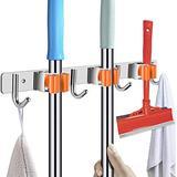 POPRUN Broom Mop Holder Wall Mount Stainless Steel Tool Hanger Organizer for Home, Kitchen, Garden, Garage, Landry Organization and Storage, 3 Racks 4 Hooks, Orange